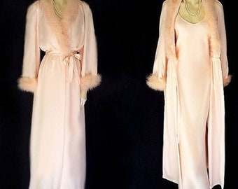Intime of California Vintage White eyelet and teal trimmed Dressing Gown