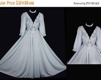 e7d32eab6c AFTER CHRISTMAS SALE Rare Color   Style Olga Spandex Lace Grand Sweep  Nightgown w Sleeves in Quicksilver gray nightgown vintage nightgown ol