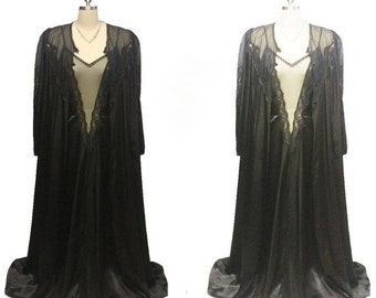 1a95bc7fae AFTER CHRISTMAS SALE Vintage Intime of California Heavy Black Satin Lace  Peignoir   Nightgown Set black peignoir set satin peignoir set inti