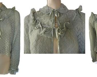 Vintage Saks Fifth Avenue Embroidered Sparkling Rhinestone Sweater Bed Jacket designer bed jacket pink rhinestone bed jacket