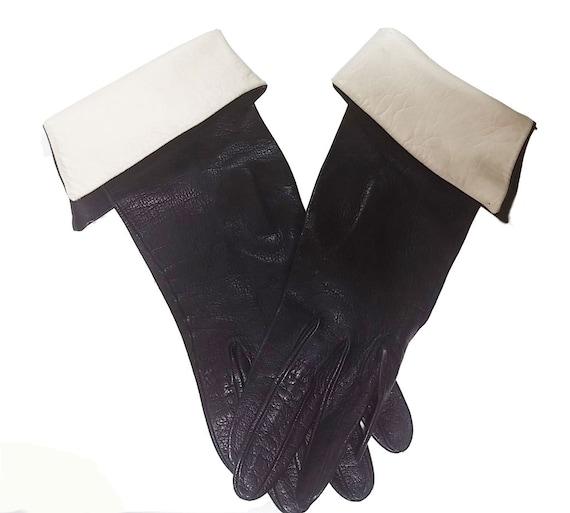 Vintage 60s Unique Black Leather Gloves w White Le