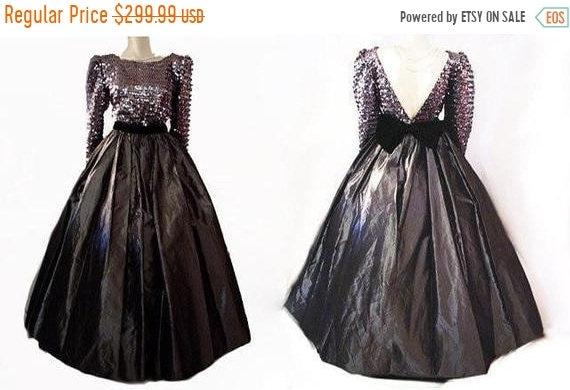 HOLIDAYSALE2020 Vintage Sequin Black Velvet & Taff