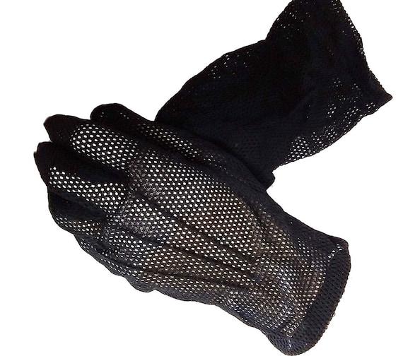 Vintage 50s Black Mesh Gloves black gloves designe