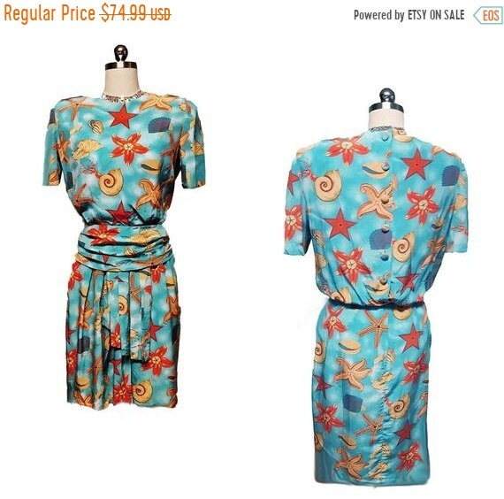 HOLIDAYSALE2020 Vintage Nipon Seashell Silk Dress
