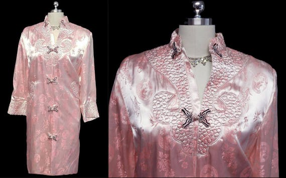 Vintage Oriental Asian Pink Satin Quilted Robe vin