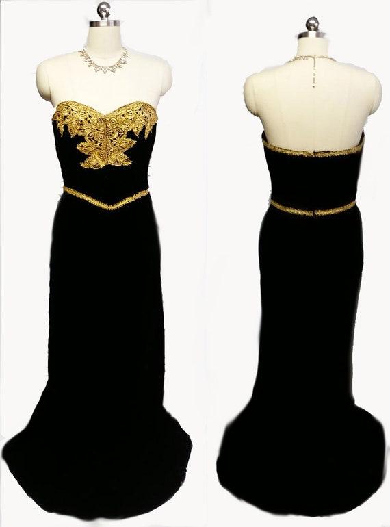 Vintage Victor Costa I Magnin Velvet Evening Gown