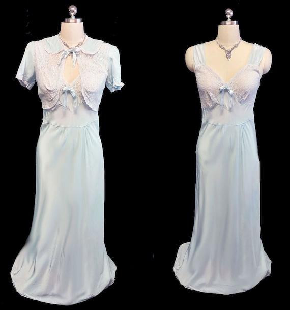Vintage 1930s Lace Bed Jacket & Bias Nightgown Set