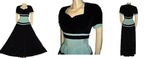 Vintage 1930s 1940s Black velvet Aqua Faille Eveni