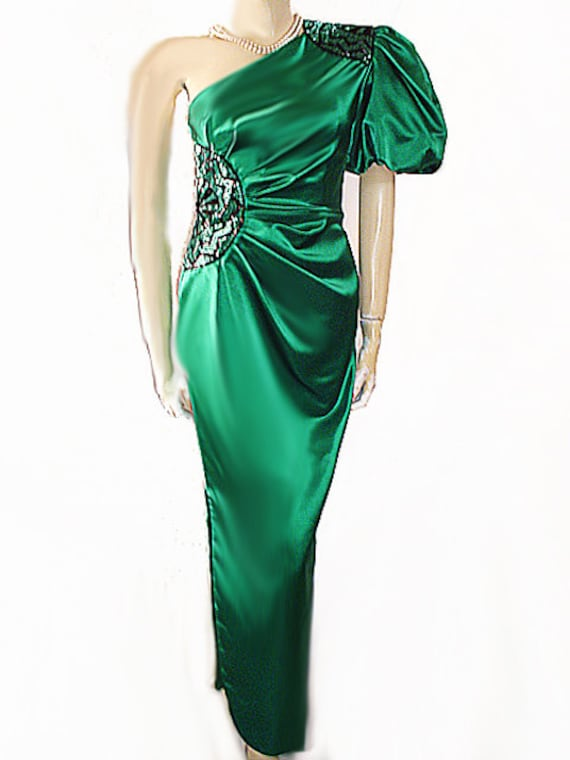 Vintage Miss Bergdorf Evening Gown Satin Beaded On