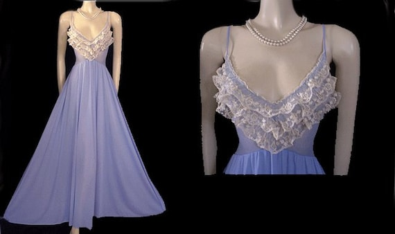 Very Rare Vintage Olga Nightgown Ruffles Spandex Lace Gown  224539342
