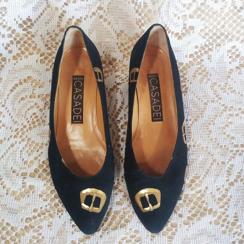 Vintage Cute /& Unique Casadei Flats Gold Buckles w Gold Metal Chain Trim Made in Italy 8.5 designer shoes black flats gold buckle shoes