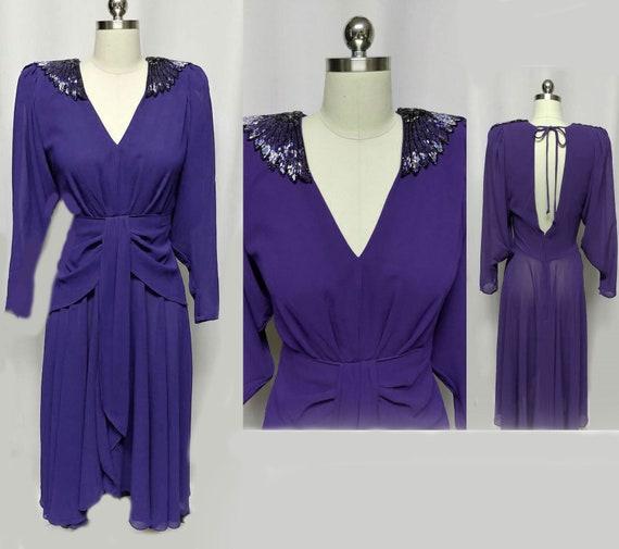 Vintage Casadei 80s Beaded EpaulettesEvening Dress