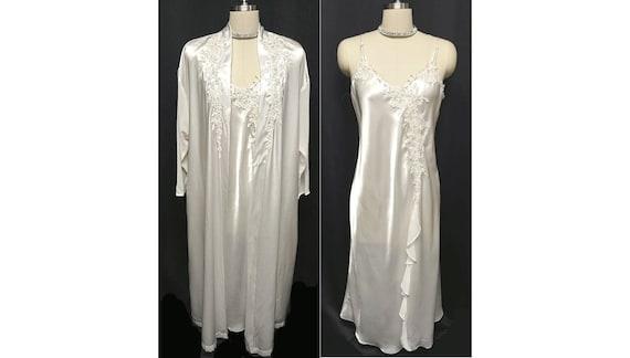 HOLIDAYSALE2020 Bridal Applique Lace Satin Peignoi