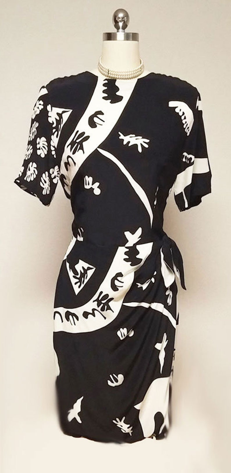 SALE Vintage 80s Nora Noh Silk Dress black and white dress 80s dress designer dress summer dress sarong dress vintage dress party dress blac