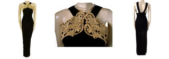 Vintage 80s Scott McClintock Gold Metallic Lace Ha