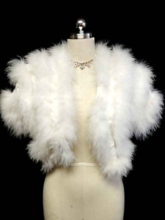 Glamorous Vintage Fluffy White Marabou Feather Eve