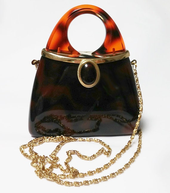 Vintage  Cute Faux Tortoise Shell Evening Bag with