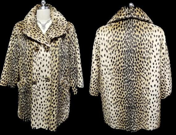 Vintage Faux Fur Leopard Coat Stroller coat vintag