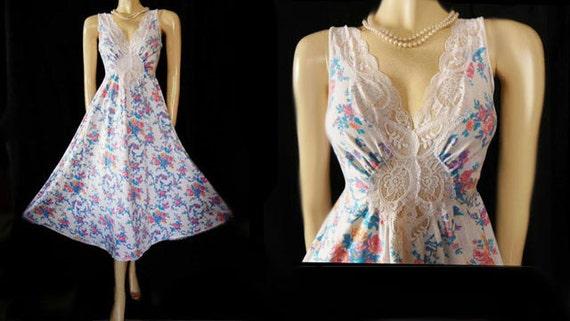 Vintage Rare Floral Olga Nightgown Cotton Spandex… - image 1