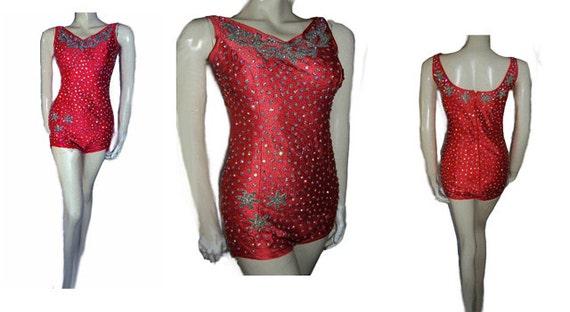 Vintage Sparkling Rhinestone Encrusted Swimsuit Sc