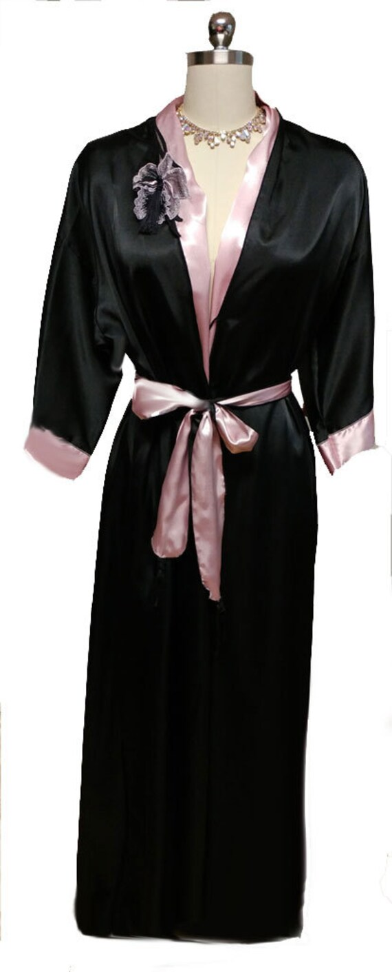 Vintage Donna Richard Satin Peignoir Pink Black Orchid Applique dressing gown baby pink satin robe black robe black satin robe