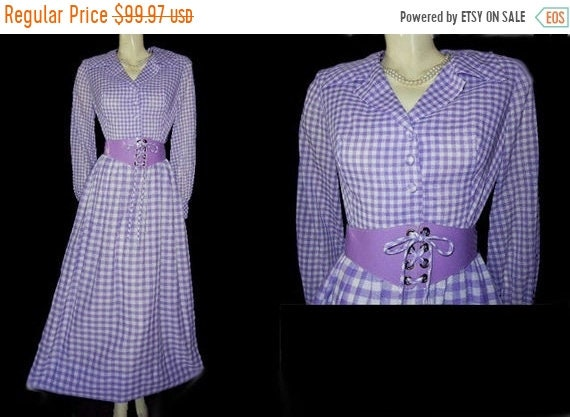 CLEARANCE SALE Vintage Purple & White Checked Lace
