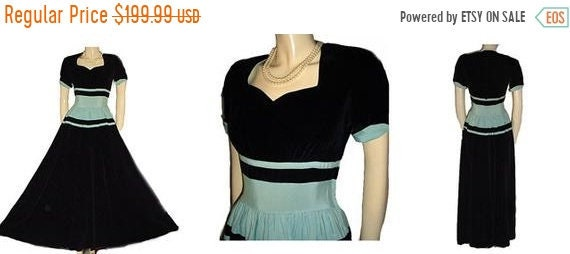 HOLIDAYSALE2020 Vintage 1930s 1940s Black velvet A