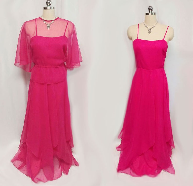 c2ca994f45b Vintage Saks Fifth Avenue Chiffon Evening Gown   Jacket pink