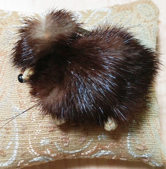 Vintage 50s Mink Poodle Dog with Collar Pin Brooch