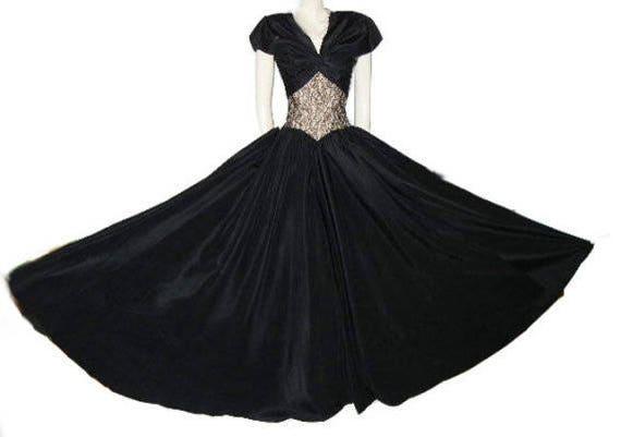 Vintage 40s Evening Gown Metal Zipper Bolero Jack… - image 2