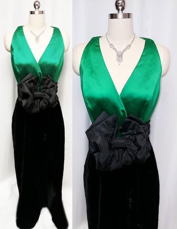 Vintage Rimini Emerald Satin & Black Velvet Evenin