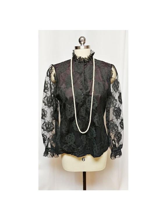 Vintage 60s Fancy Judy Bond Black Floral Lace Blou