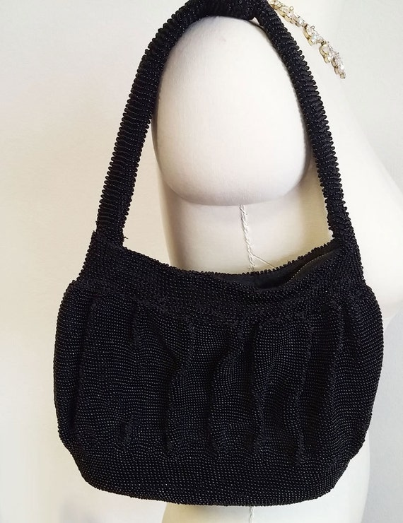 Vintage 1940s Black Beaded Purse Handbag heavy pur