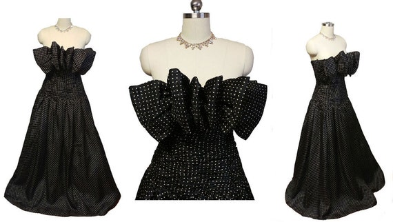 Vintage Designer Huge Bow Bodice Silk Evening Gown