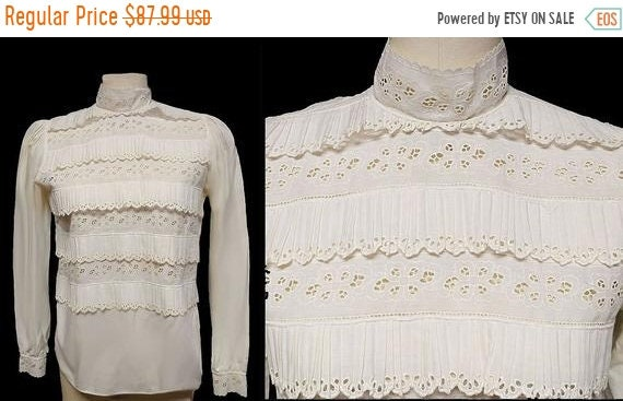 CLEARANCE SALE Vintage Foreign Made Ivory Ruffled