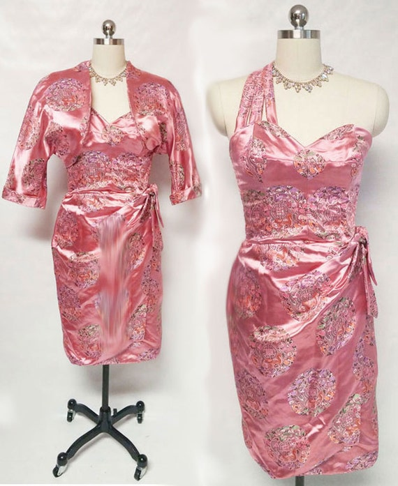 Vintage Bombshell Sarong Satin brocade Dress Match