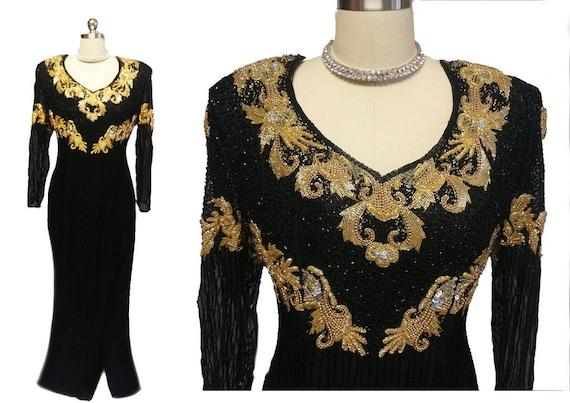 Spectacular Vintage Black & Gold Sparkling Sequin