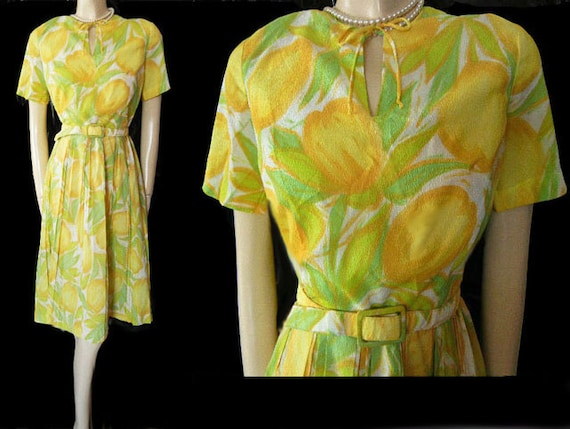Vintage 50s / 60s Novelty Tulip Dress Metal Zipper