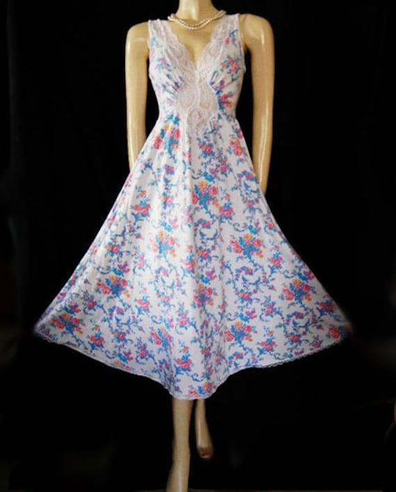 Vintage Rare Floral Olga Nightgown Cotton Spandex… - image 2
