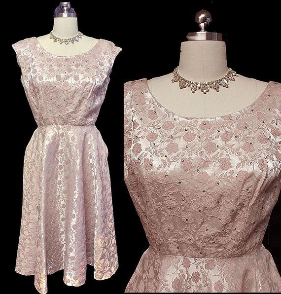 Vintage Jerry Gilden Spectator Pink Brocade Rhines