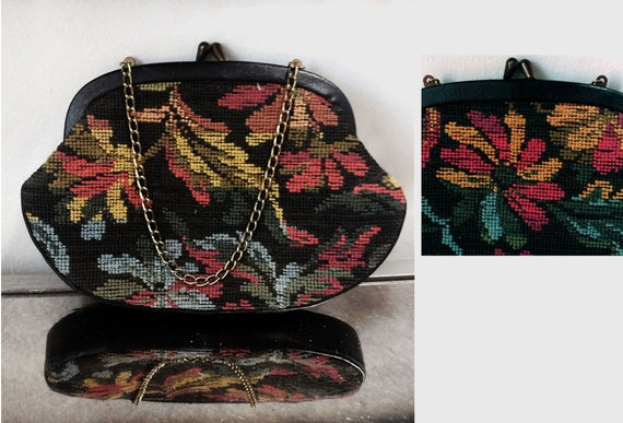 Vintage Floral Needlepoint Purse Tapestry Purse Pe