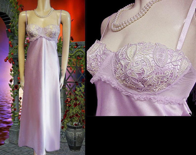 Vintage 80s Flora Nikrooz Lace Applique Nightgown Antique Lavender satin nightgown designer nightgown bra nightgown bridal