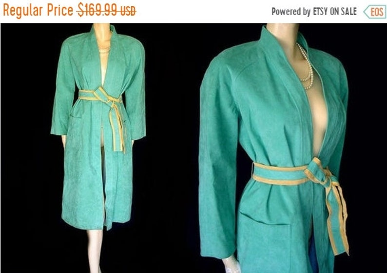 SALE Vintage Turquoise /& Buckskin Look Ultrasuede Coat designer coat 70s coat wrap coat fall coat