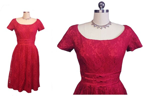 Vintage 1960s Gigi Young Scarlet Lace Cocktail Par