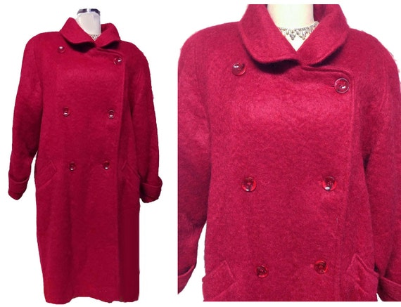 Vintage George David Fashions Scarlet Mohair Coat