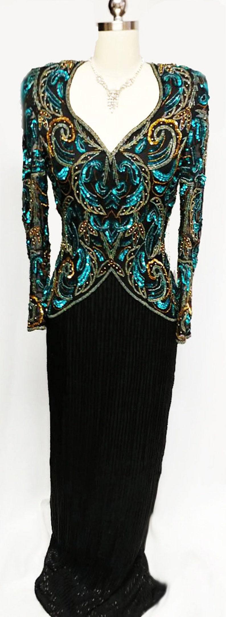 SALE Gorgeous Vintage Scala Black Silk Evening Gown Encrusted w Deep Sea Blue Sequins /& Gold Beads glamorous evening gown