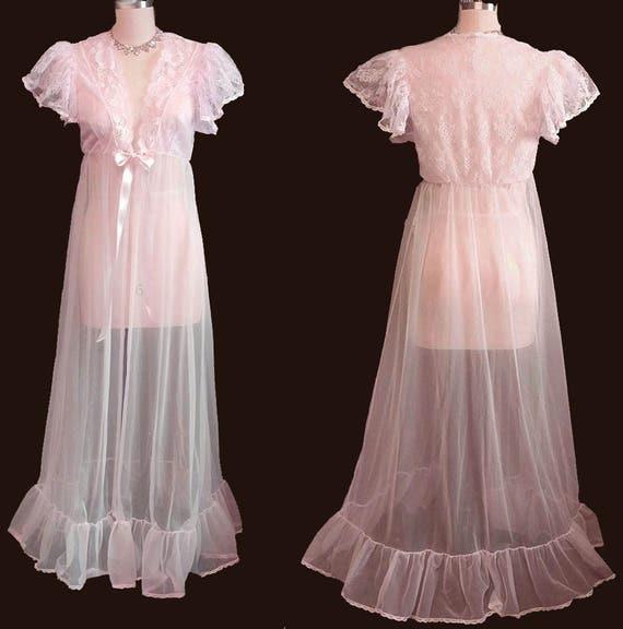 Vintage Tosca Sheer Bridal Peignoir Adorned w Lace