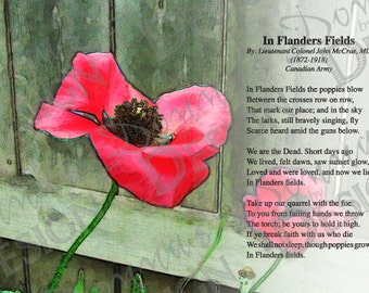 Poppy poem etsy print of poem in flanders fields 5x7 inches mightylinksfo