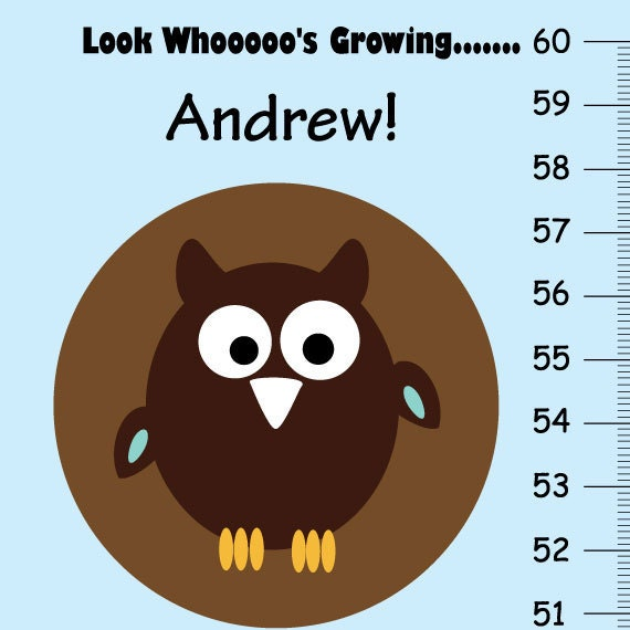 Look Who S Growing Personalized Owls Growth Chart Etsy