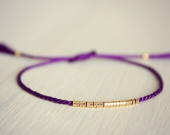 Lucia / Silk Friendship Bracelet / Silk Thread Bracelet / Royal Purple Silk with Thin Row of Small Gold Beads